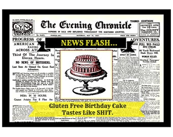Gluten Free Birthday Cake Card. Funny Birthday Card, Snarky Birthday Card