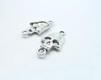 Skull Connector Charm -30pcs 11x21mm Antique Silver Skull Connector Charm Pendant  C7213
