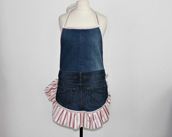 DENIM APRON French Maid Apron Halter Dress Shabby Chic Boho Hippie Festival Vintage jeans Cooking apron Pinafore