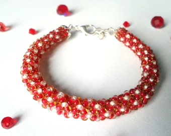 Chenille red and white spiral bracelet