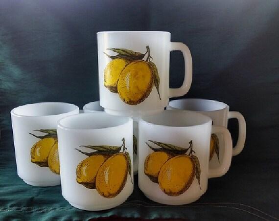 Vintage Glasbake Coffe Mugs Set of Six (6) Lemon Fruit Design, Vintage Coffee Mugs With Painted Lemons