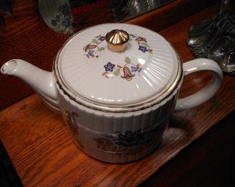Ellgreave Ironstone Teapot, Featuring Various Floral Flowers with Gold Trim - Made in England