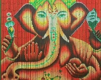 Hand Painted Beaded Bamboo Curtain - Ganesha