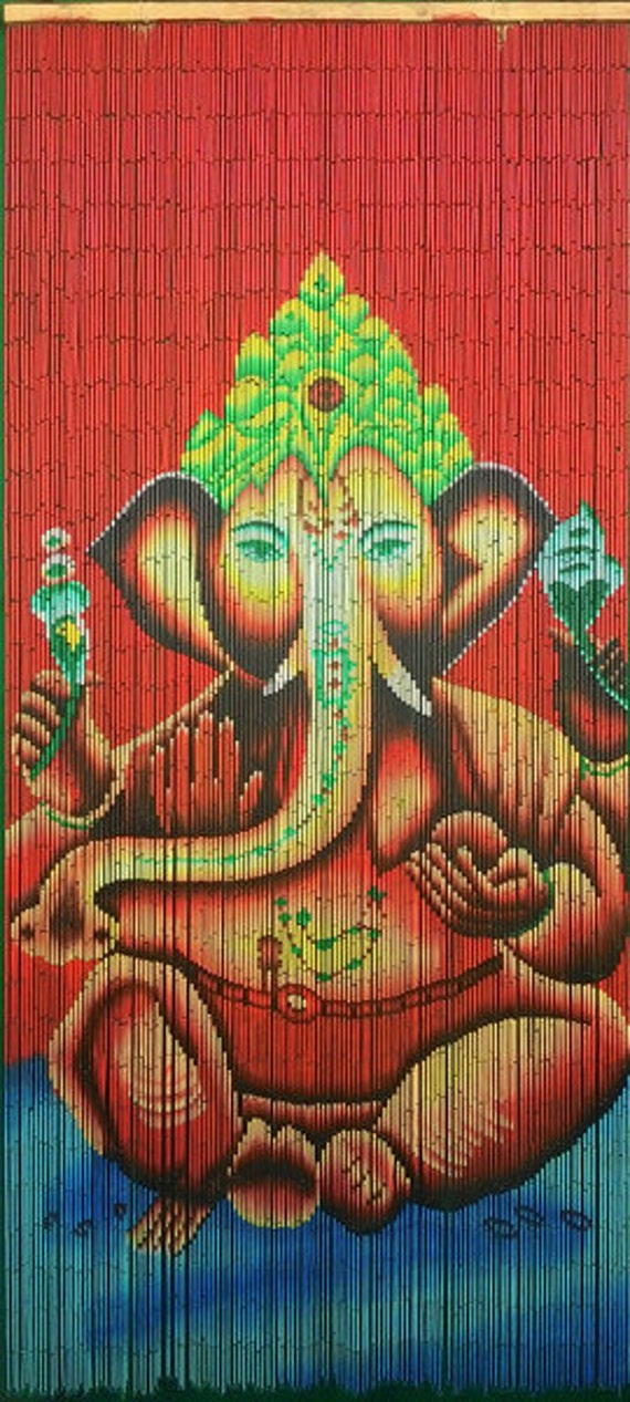 Hand painted beaded bamboo curtain ganesha for Hand painted bamboo beaded curtains