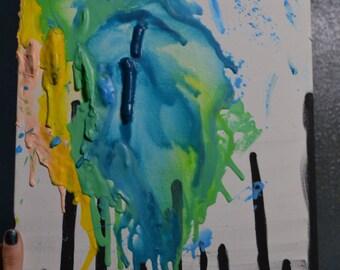 Original Art-Crayon Abstract