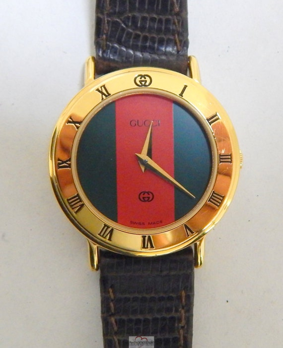 Gucci 3000L Red Green Stripe Dial Gold Watch by AwesomeResale
