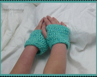 crochet warm short gloves