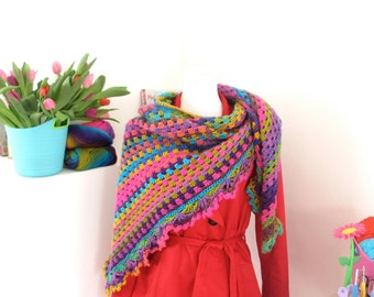 Rainbow Triangle Shawl