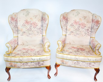 SALE! Vintage Wingback Chairs, Original Upholstery