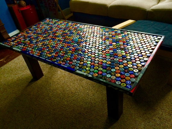 Custom Beer Cap Hockey Stick Coffee Table