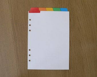Filofax A5 Organiser Dividers with 5 Multicoloured Top Positioned Mylar Tabs