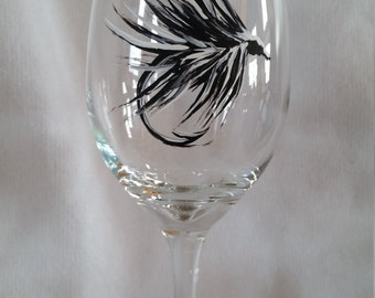 Black & White Fly Fishing Lure Wine Glass