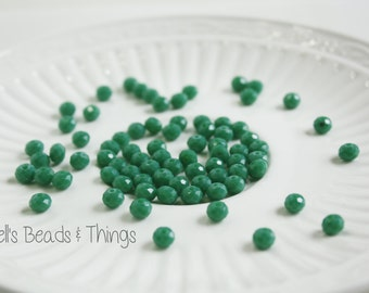 6mm Rondelle, Czech Glass Beads, Green Beads, Faceted Beads, Small Beads, Jewelry Making Supply - 1 Strand = 100 Beads
