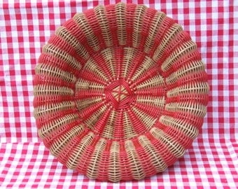 Wicker Bowl//Stunning hand made wicker and plastic woven basket