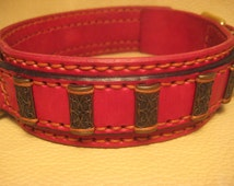 red leather rivet dog collar leather collar dog collar
