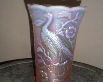 Carnival Glass Fenton  Pink Opal ''PEACOCK GARDEN VASE'' Collectible Iridescent Glass - Collectible Art Glass (676)