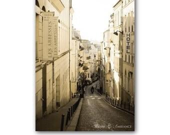 Paris street photo print, sepia Paris decor, vintage Paris photography, romantic wall art, nostalgic city, old ally, monochrome Paris canvas