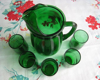 Vintage Green Glass Juice Pitcher Set With 5 Glasses