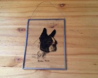 Clear Glass With Boston Terrier Suncatcher