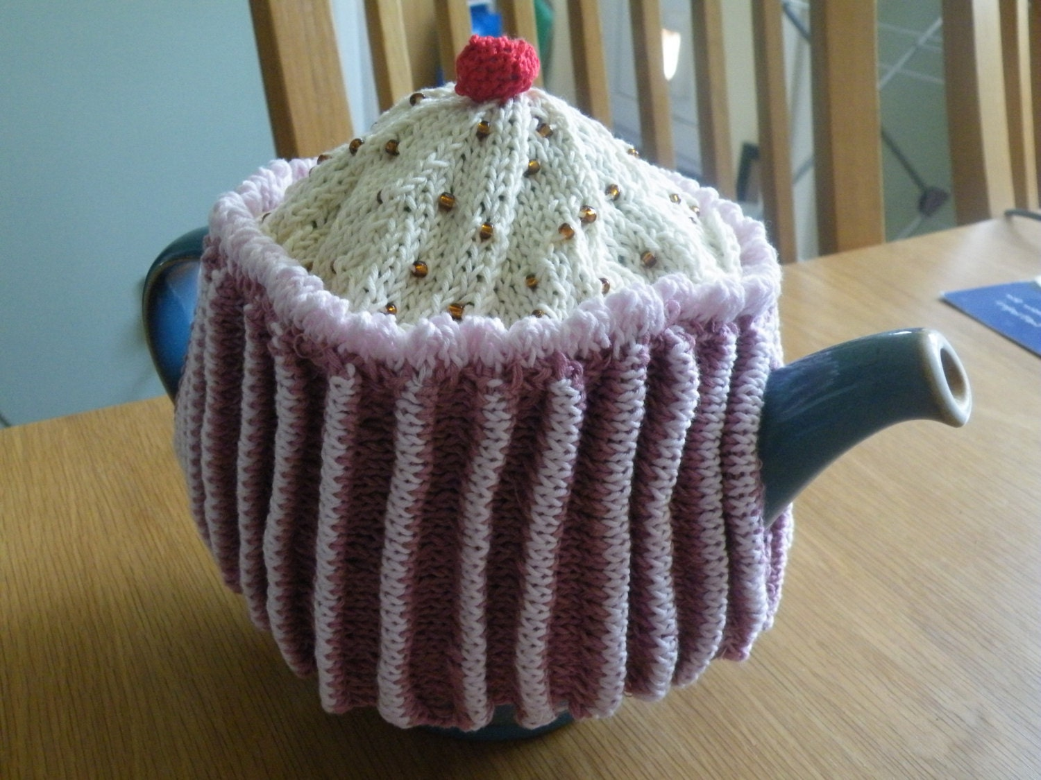 Hand Knitted Cupcake tea cosy
