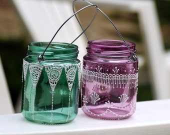 SET of 2 MINI Mason Jar Lanterns Decorated With Henna Design Detailing
