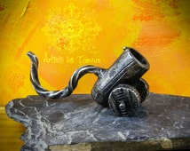 Craft,metal pipe called ''The little cannon'' tobacco, wrought iron, forged,steampunk, cosplay ,medieval,larp,gandalf ,costume,,pipe,iron