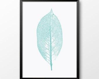Printable Leaf, Nature print, Teal decor, Wall art, Home decor, Modern wall print 202