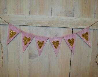 Sparkly Heart Burlap Banner, Bunting, Garland - Wedding, Bridal/Baby Shower, Nursery Decor