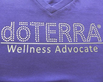 doTerra - Approved and Compliant - Purple Ladies Bling V-Neck T-shirt