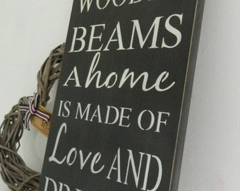A house is made of wooden beams.., wall art, Shabby Chic, painted in Annie Sloan