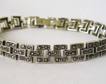Sterling Silver Marcasite Bar Link Bracelet