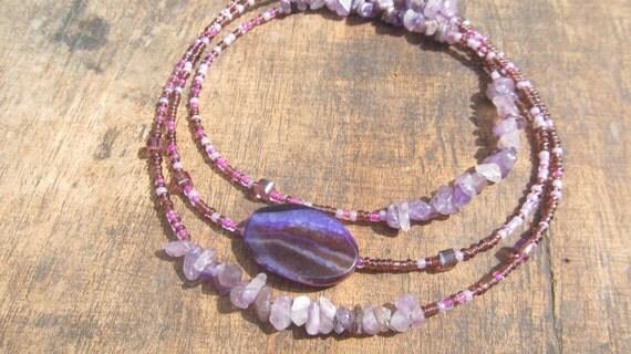 VIOLA custom made waist beads, African amethyst chips, glass beads, crystals, Fair Trade