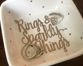 Rings and Sparkly Things Glitter Gold Jewelry Dish Holder