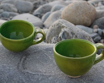 2 Hand made Green coffe cups