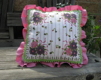 Handmade Pillow~~ Vintage Hankie Pillow~~Designer Pillow~~ 50s Vintage One of a Kind Pillow