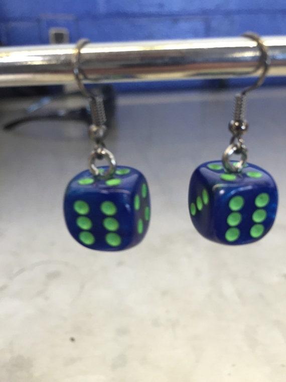 blue and green mini d6 dice earrings d d nerdy jewelry