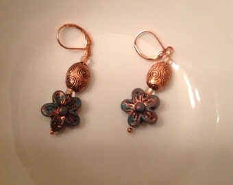 Teal and copper color earrings