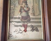 Antique 1879 Winter Pets Print in Frame H. Hallett & Co. Portland Maine