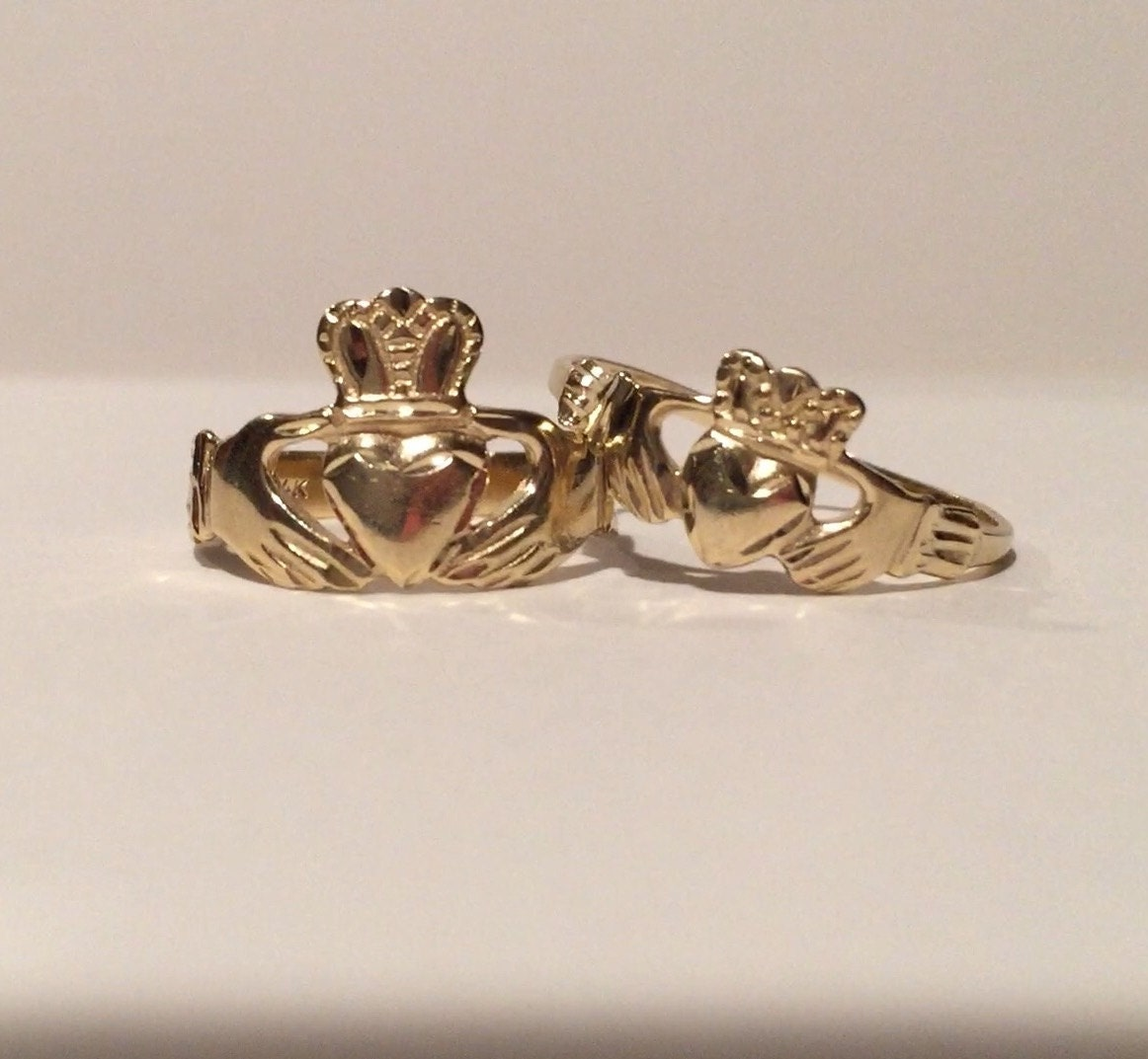 men 39 s and woman 39 s 14k gold claddagh ring set by rings4youboth. Black Bedroom Furniture Sets. Home Design Ideas