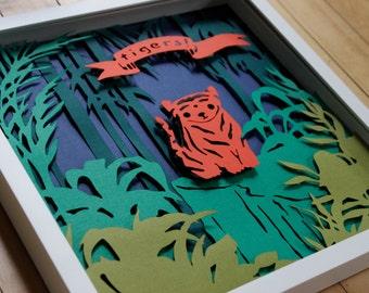 Tiger papercut nursery decor, framed shadowbox artwork