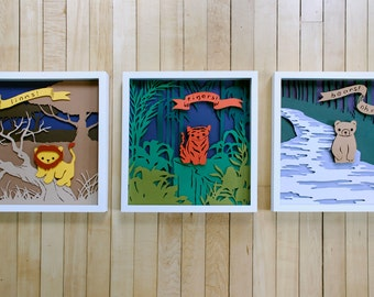 Set of 3 papercut nursery artworks (my complete Lions, Tigers, and Bears! series, framed)