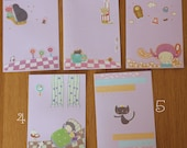 Handmade appliqué paper postcards - lavender series