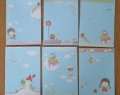 Handmade appliqué paper postcards - blue series