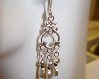 Round Bead Silver-Tone Dangle Earrings
