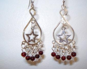 Garnet Color Beaded Dangle Earrings with Star