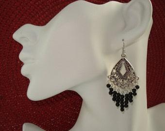 Black Obsideon Beaded Chandelier Earrings