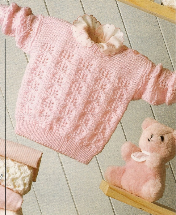 4 Ply Baby Knitting Patterns : Knitting Pattern Baby Sweater 4 Ply 41-61 cm PDF Instant