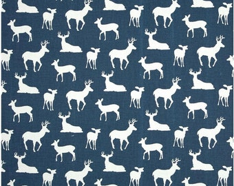 1/2 Yard Navy Blue and White Deer Fabric - Premier Prints Navy Blue and White Deer Fabric HALF YARD dark blue