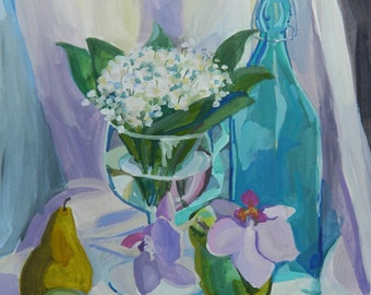 Still life with orchids and lilies of the valley