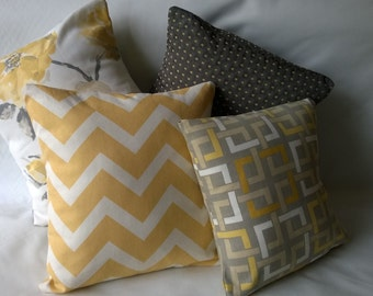 Yellow, grey accent pillow covers, yellow, grey decorative pillows
